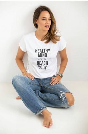 Tricou din bumbac organic Healthy mind in a beach body