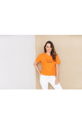 Tricou oranj din bumbac organic You know where you can find me