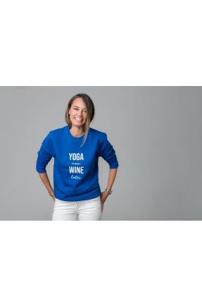 Hanorac albastru Yoga now wine later