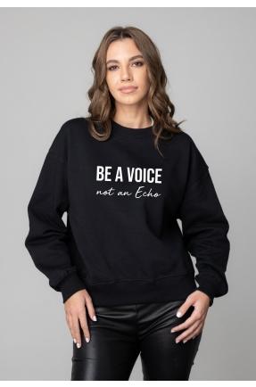 Hanorac negru BE A VOICE NOT AN ECHO