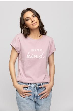 Tricou lila din bumbac organic Born to be kind
