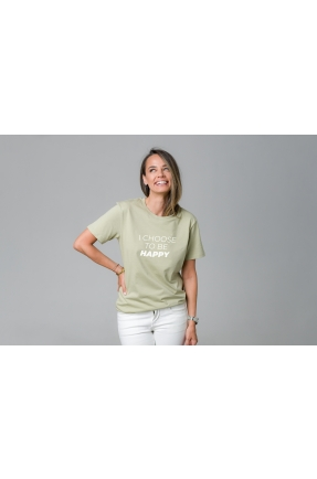 Tricou verde din bumbac organic I choose to be happy