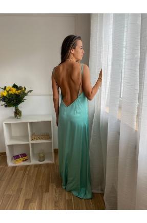 Rochie lunga cu spatele gol turcoaz