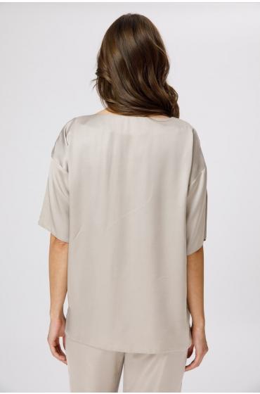 Bluza cu decolteu rotund nude