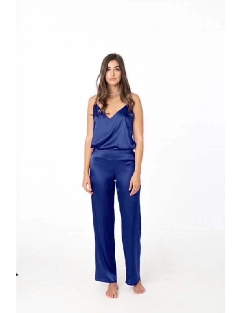 Pantaloni bleumarin din matase