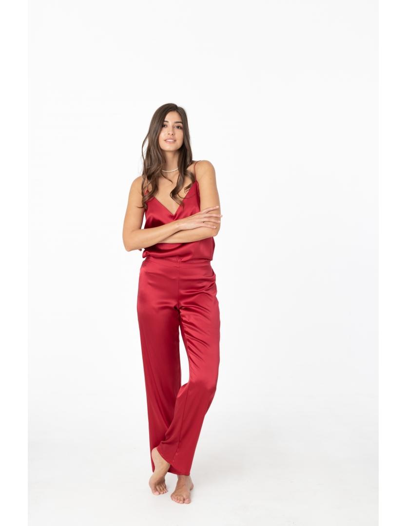 Pantaloni rosii din matase