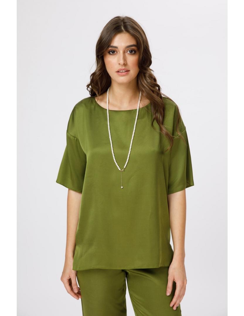 Bluza cu decolteu rotund verde fistic