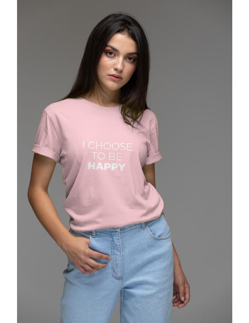 Tricou roz din bumbac organic I choose to be happy