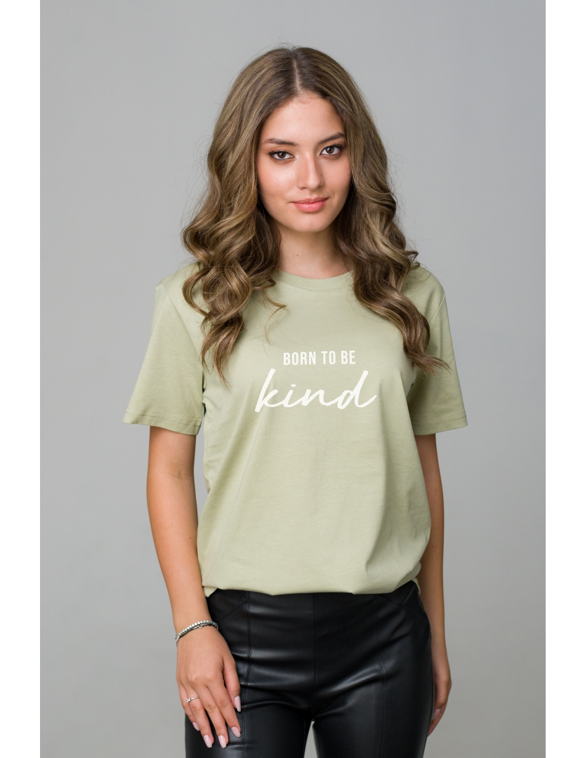 Tricou verde din bumbac organic Born to be kind