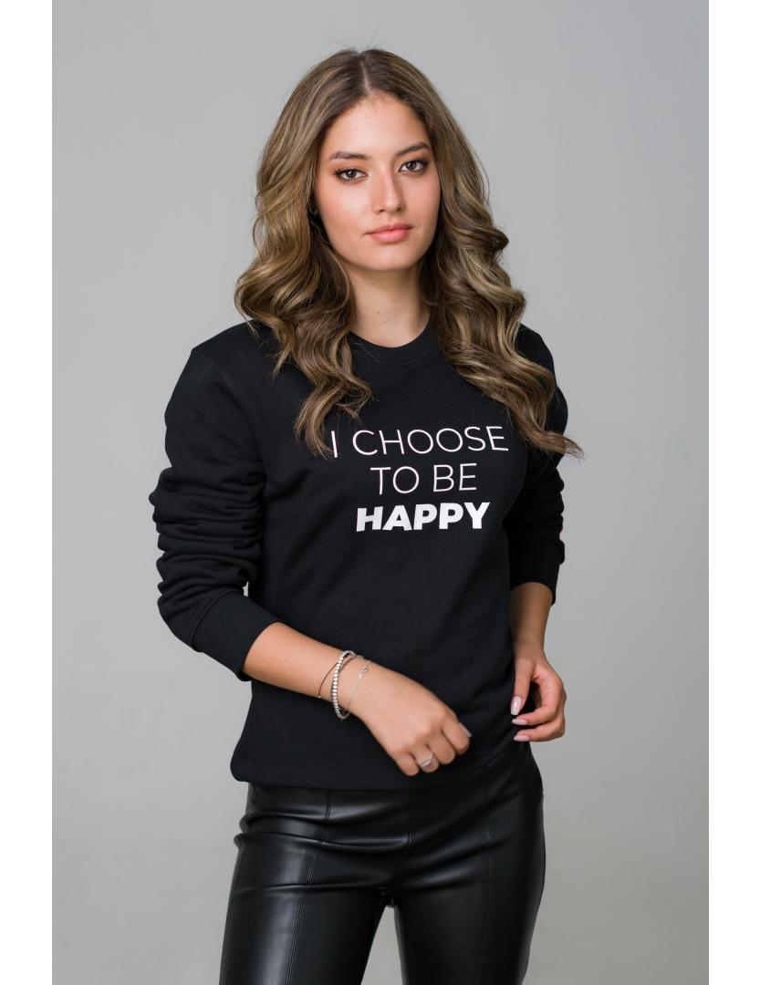 Hanorac negru I choose to be happy