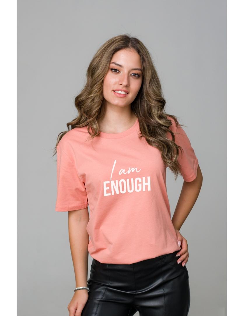 Tricou roz piersica din bumbac organic I am enough