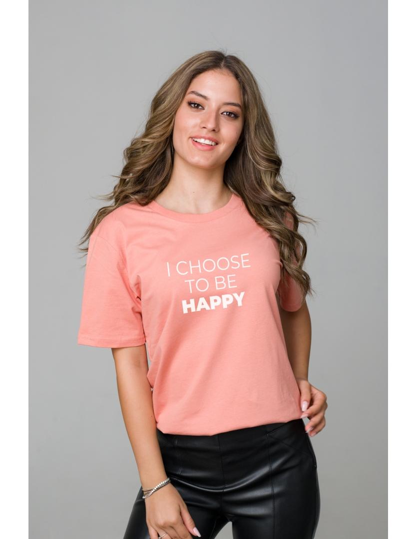 Tricou roz piersica din bumbac organic I choose to be happy