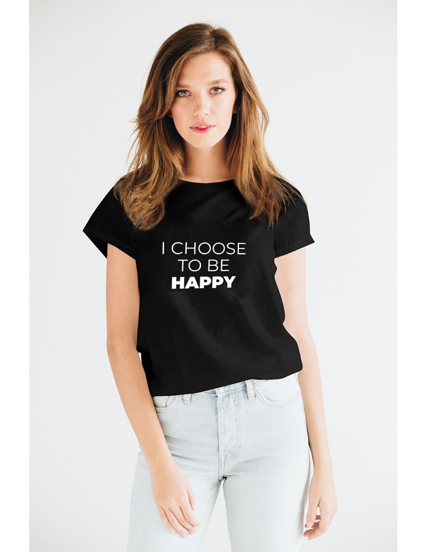 Tricou negru din bumbac organic I choose to be happy