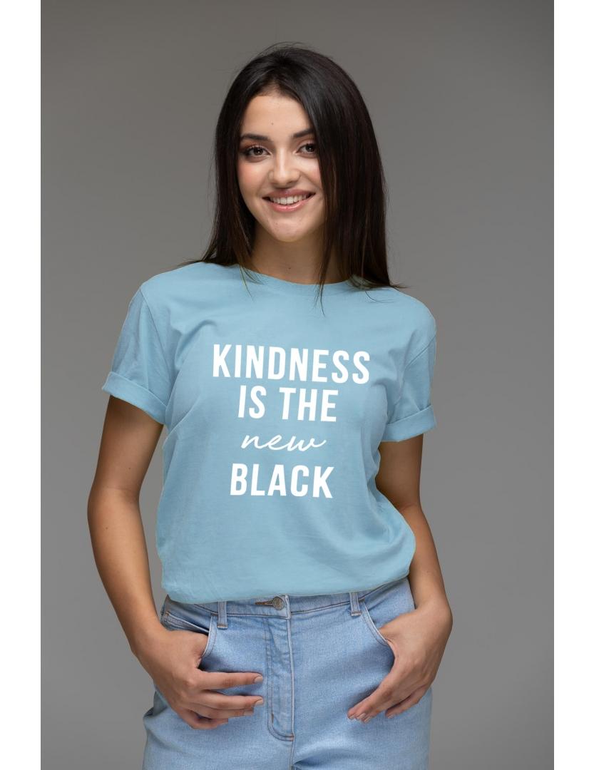 Tricou albastru din bumbac organic Kindness is the new black