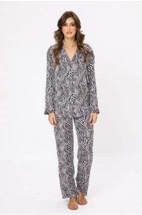 Pantaloni lungi cu imprimeu zebra