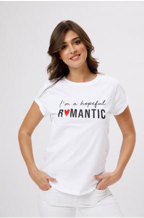 Tricou din bumbac organic I am a hopeful romantic