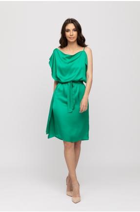 Rochie cu volane si cordon verde smarald
