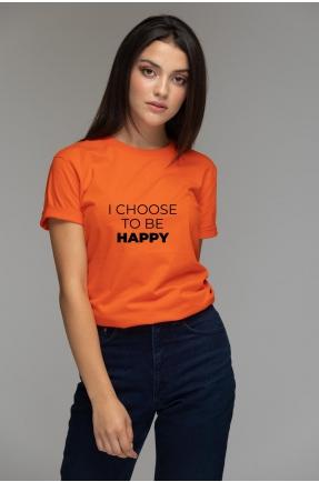 Tricou oranj din bumbac organic I choose to be happy
