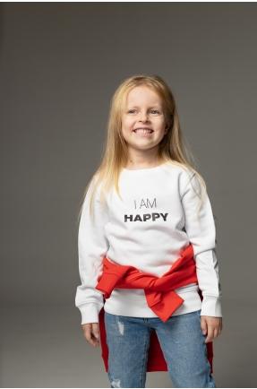 Hanorac alb I am happy