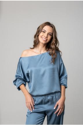 Bluza cu umar gol albastru denim