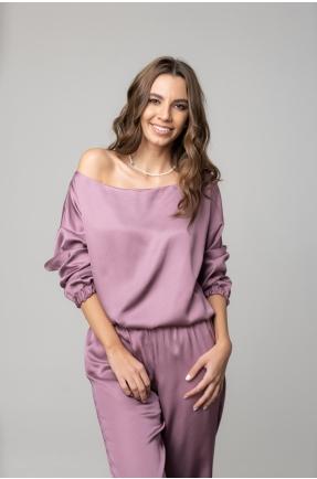 Bluza cu umar gol lila pudrat