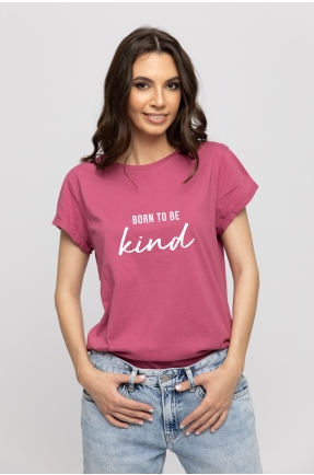 Tricou mov din bumbac organic Born to be kind