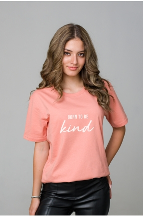 Tricou roz piersica din bumbac organic Born to be kind