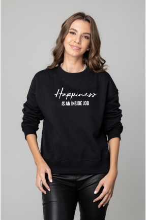 Hanorac negru HAPPINESS IS AN INSIDE JOB