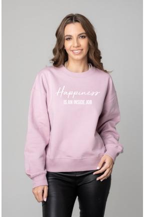 Hanorac lila HAPPINESS IS AN INSIDE JOB