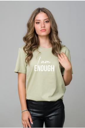 Tricou verde din bumbac organic I am enough