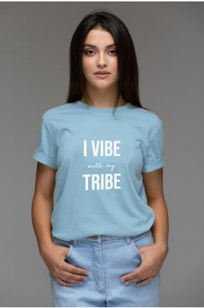 Tricou albastru din bumbac organic I vibe with my tribe