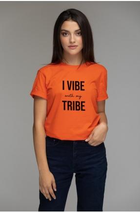 Tricou oranj din bumbac organic I vibe with my tribe