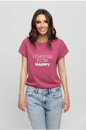 Tricou mov din bumbac organic I choose to be happy