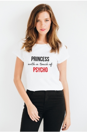 Tricou din bumbac organic Princess with a touch of psycho