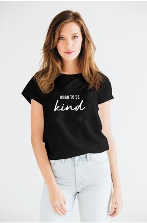 Tricou negru din bumbac organic Born to be kind