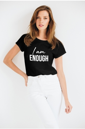 Tricou negru din bumbac organic I am enough