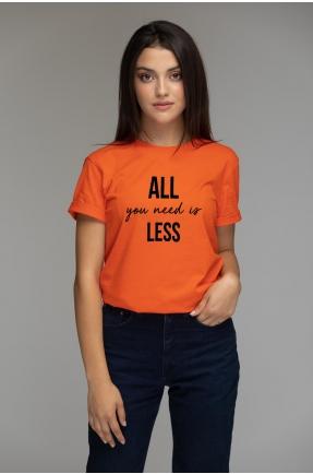 Tricou oranj din bumbac organic All you need is less