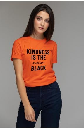 Tricou oranj din bumbac organic Kindness is the new black