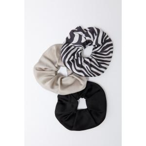Set elastice de par zebra, negru, nude