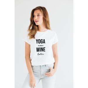 Tricou din bumbac organic Yoga now wine later