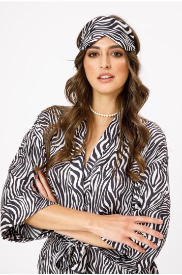 Masca pentru dormit cu imprimeu zebra