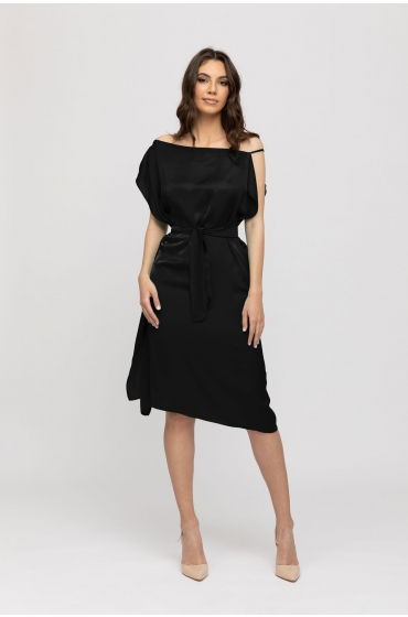 Rochie cu volane si cordon neagra